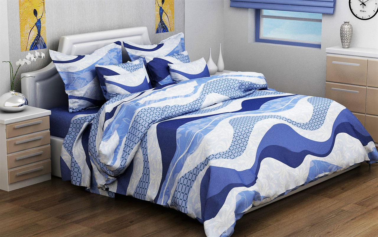"""Евро комплект постельного белья 200*220 из бязи Голд """"Волна синяя"""""""