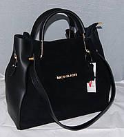 Женская черная замшевая сумка-шоппер Michael Kors, MK, Майкл Корс