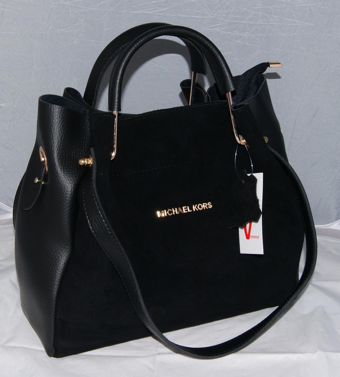 a854d51318cd Женская черная замшевая сумка-шоппер Michael Kors, MK, Майкл Корс ...