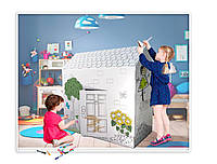 Картонный домик палатка для детей -раскраска