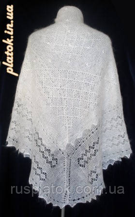Платок Белый жемчуг ш-00042, белый, оренбургский пуховый платок