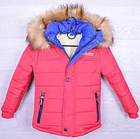 """Куртка подростковая зимняя """"Columbia"""" для девочек. 6-12 лет. Розовая_электрик. Оптом."""
