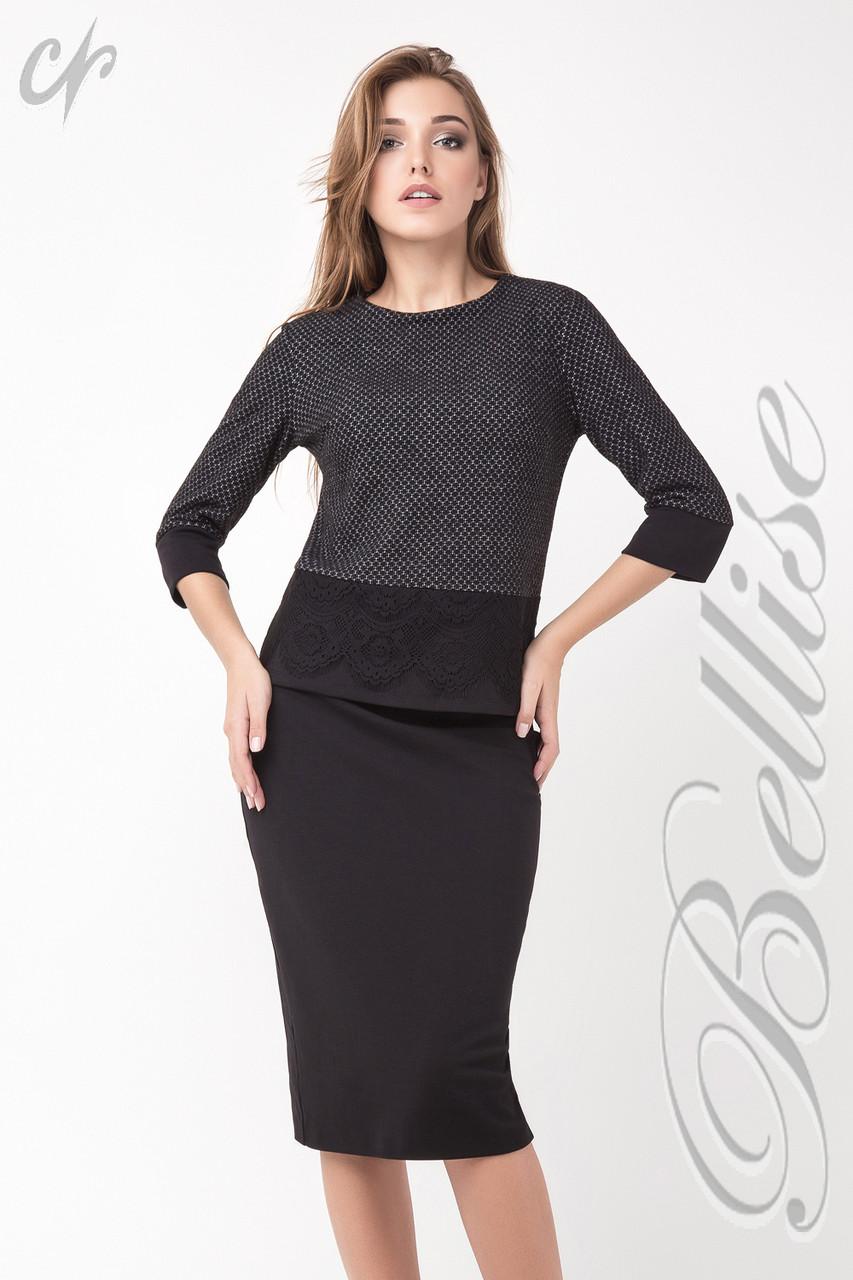 0cc2fefe696 Теплый женский офисный костюм блузон и юбка Черный - VK-Style в Киеве