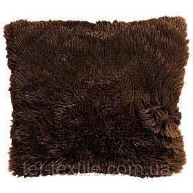 Наволочка с длинным ворсом, темно-коричневая (50х50)