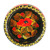 Конфетница деревянная Петриковская стилизация ручная роспись Мак 165мм низкая темная 9920