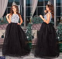 2b29f8ad9df Длинное вечернее платье верх дорогой гипюр низ 4 слоя фатина + подкладка  размеры 42-44
