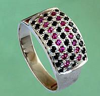 Срібний перстень з синтетичним рубіном та цирконом