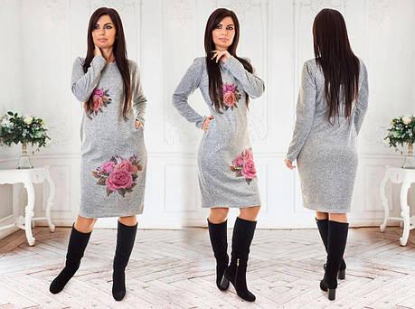 Платье ангора миди розы 21/1055, фото 2