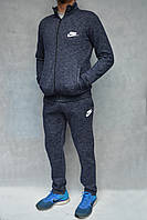 Тёплый спортивный костюм NIKE на змейке - тёмно-синий