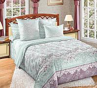 Полуторное постельное белье с простыней на резинке 90/200/25, Гипюр, перкаль 100%хлопок