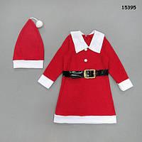 Новогоднее платье с шапочкой для девочки. 3-4; 4-5 лет
