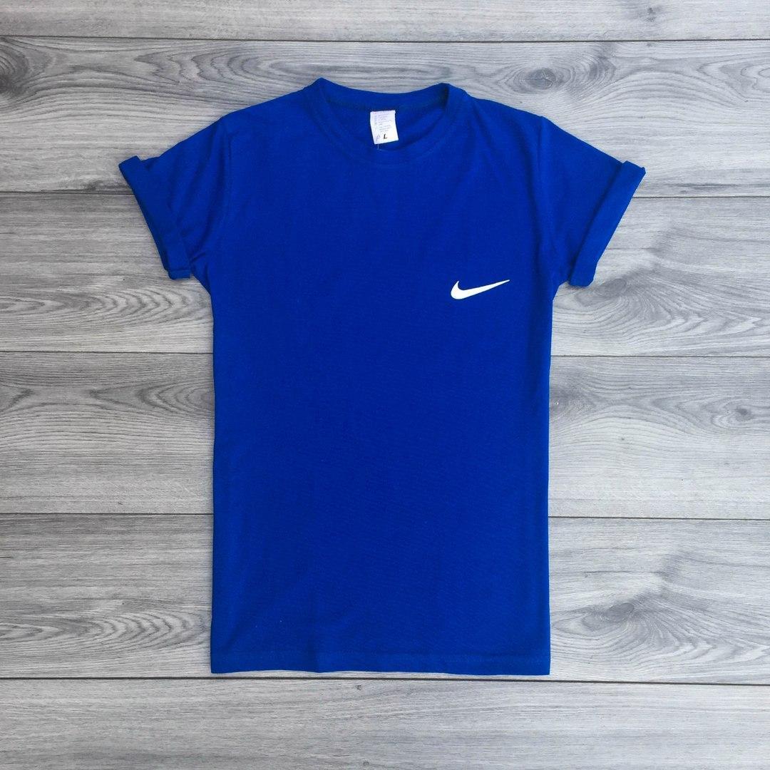 Футболка мужская Nike хлопок + полиэстер (синяя), ТОП-реплика