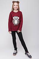 Теплый свитер с совой для девочки и подростка