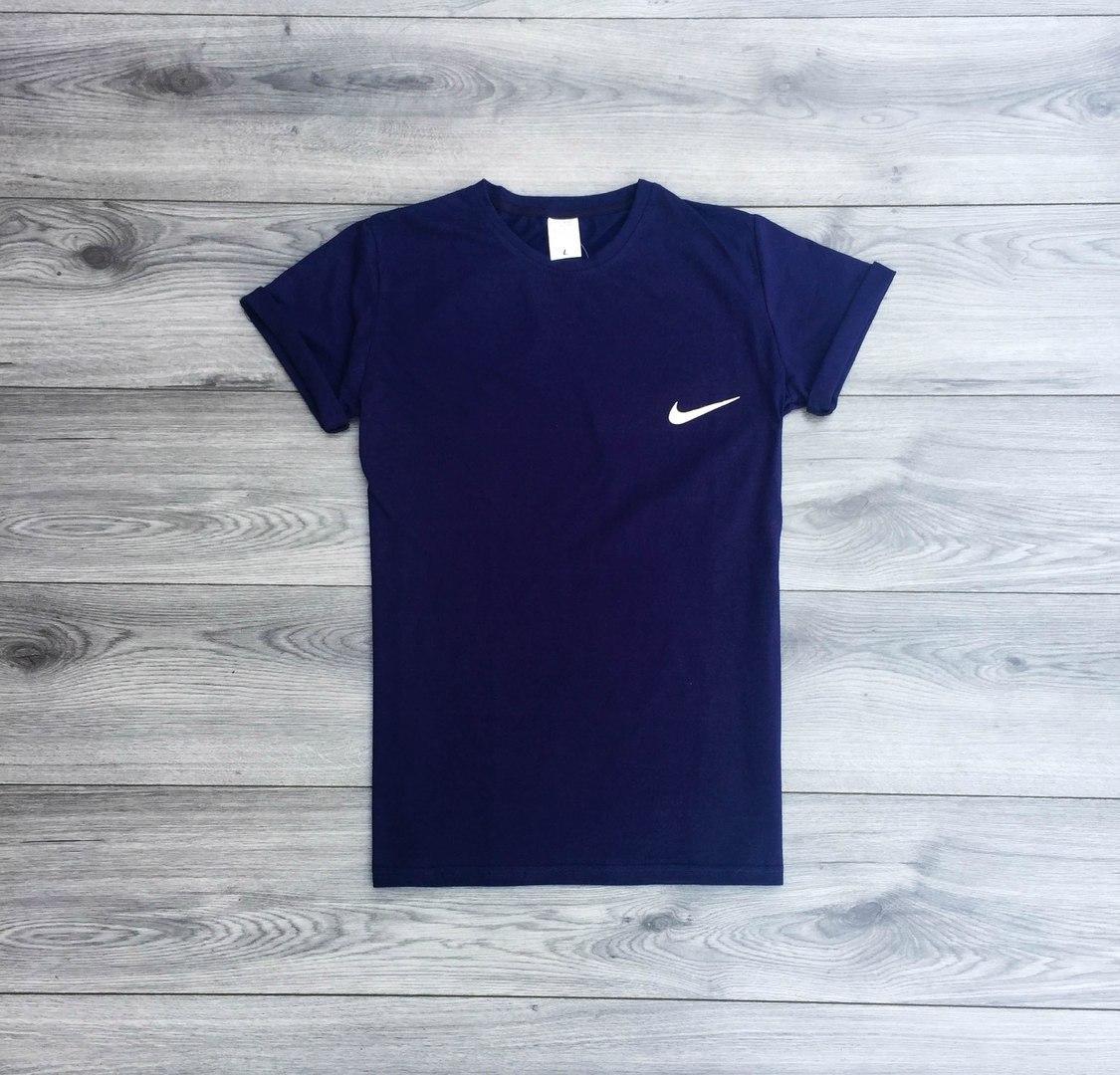 Футболка мужская Nike летняя, класика (синяя), ТОП-реплика