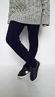 Теплые вязаные гамаши на девочку темно-синие, фото 1