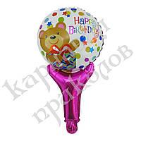 Шарик с надувной ручкой Happy Birthday (мишка), фото 1