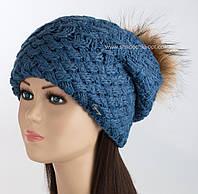 Удлиненная шапка с помпоном из енота Колибри