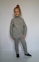 Детский вязаный костюм серого цвета