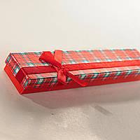 [21/4,5/2 см] Подарочная коробочка для цепочки, браслета Барбери длинная  12 шт.