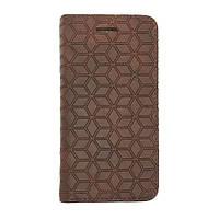 Кожаный чехол для iPhone 5/5S/SE Diamond Grid Brown