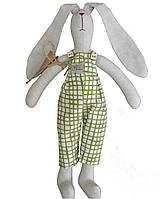 Интерьерная игрушка зайка в штанах оливковая клетка