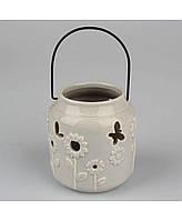 Подсвечник керамический серый