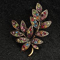 [33/45 мм] Брошь медного цвета Веточка с листьями, украшенная разноцветными камнями ярких цветов