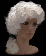 Парик Аристократа/ Лорда кудрявый белый платиновый с хвостом