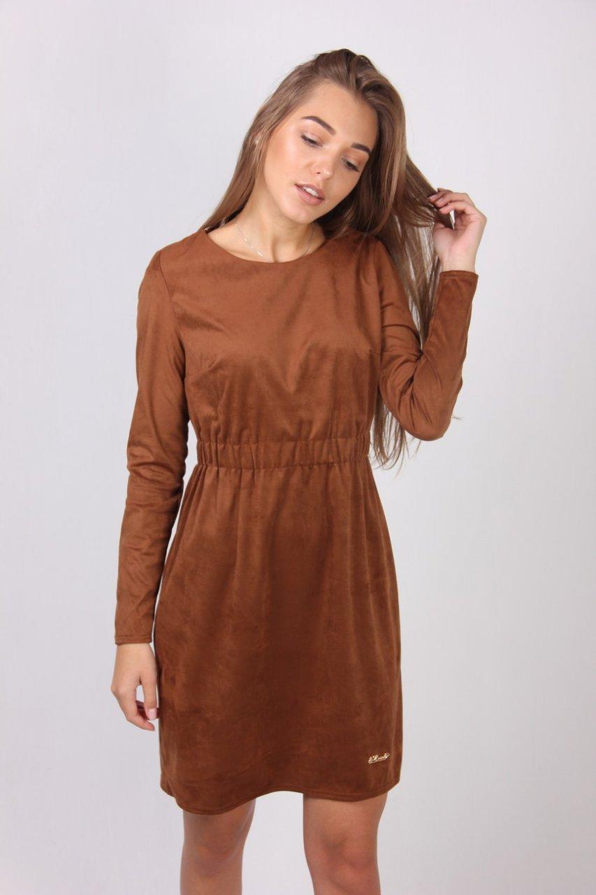 b3426045a5b Коричневое платье из замши с отрезной талией - Оптово-розничный магазин  одежды