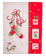 Вафельное кухонное полотенце новогоднее Сапожок ТМ Прованс