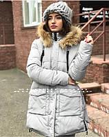 Женский серый пуховик с капюшоном размер XL(48)
