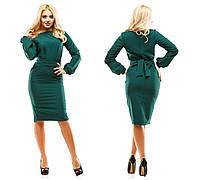 Платье женское креп-костюмка 247 темно зеленое