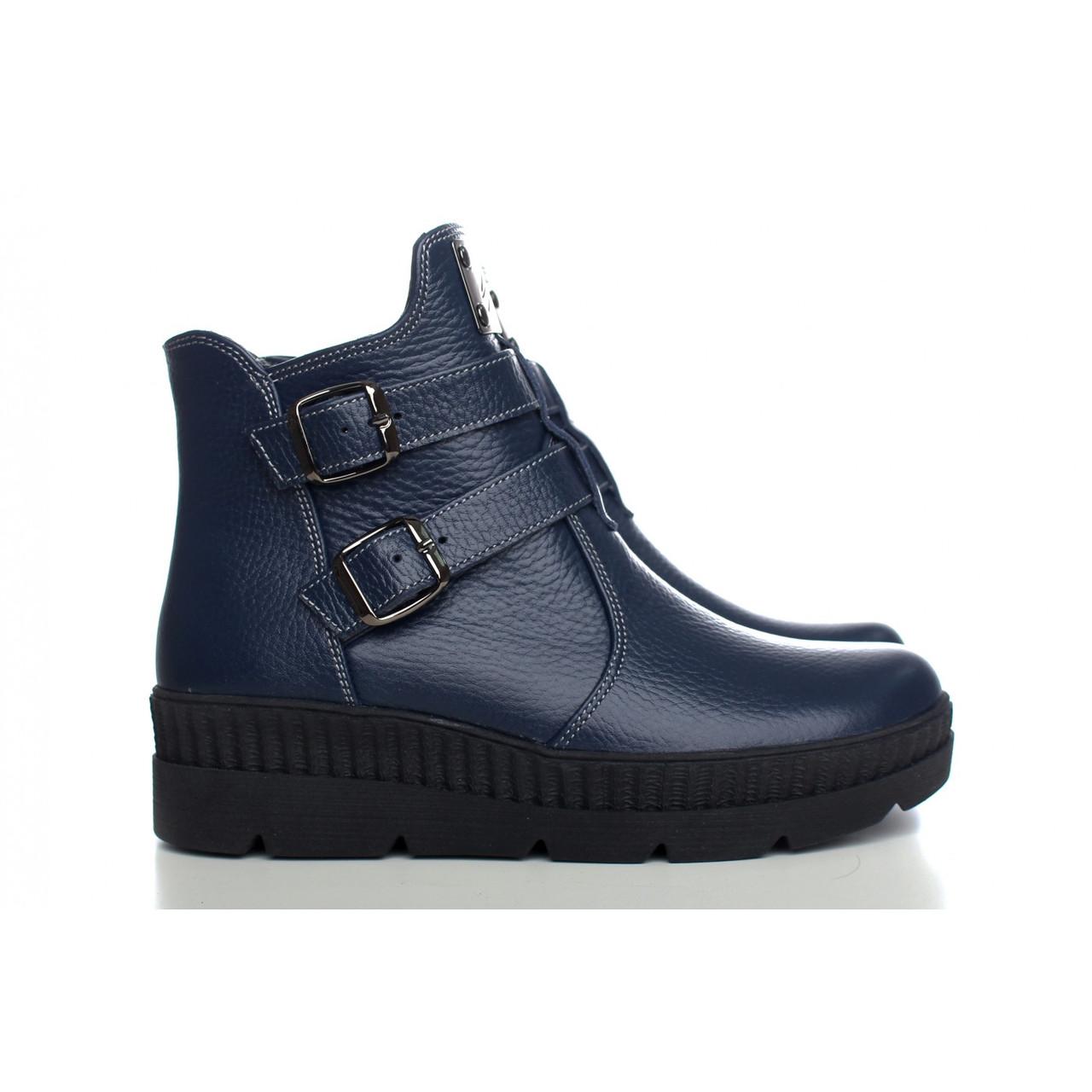 Зимние Ботинки синего цвета с пряжками