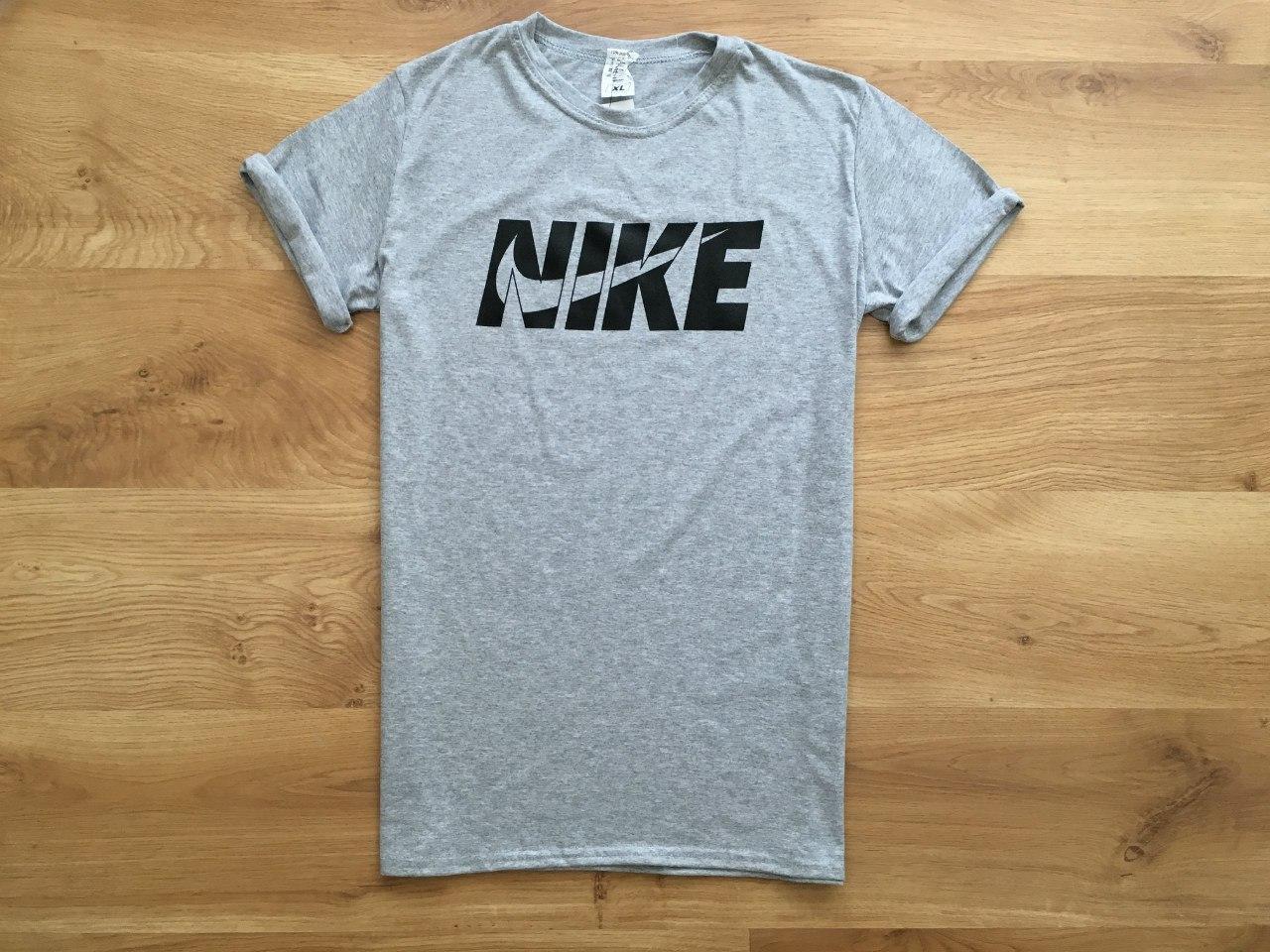 Футболка мужская Nike, найк молодежная, хлопок  (серая), ТОП-реплика