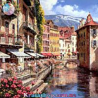 Картина раскраска по номерам Город на воде 50х40см с подрамником
