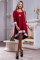 Красивое женское свободное платье из костюмной ткани, марсала, размеры 42-48