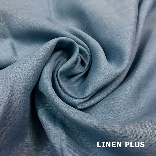 Синяя 100% льняная ткань, цвет 78