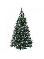 Искусственная елка Сказка зеленая с белыми кончиками из пленки ПВХ