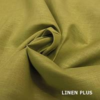 Оливковая льняная ткань 100% лен , цвет 89
