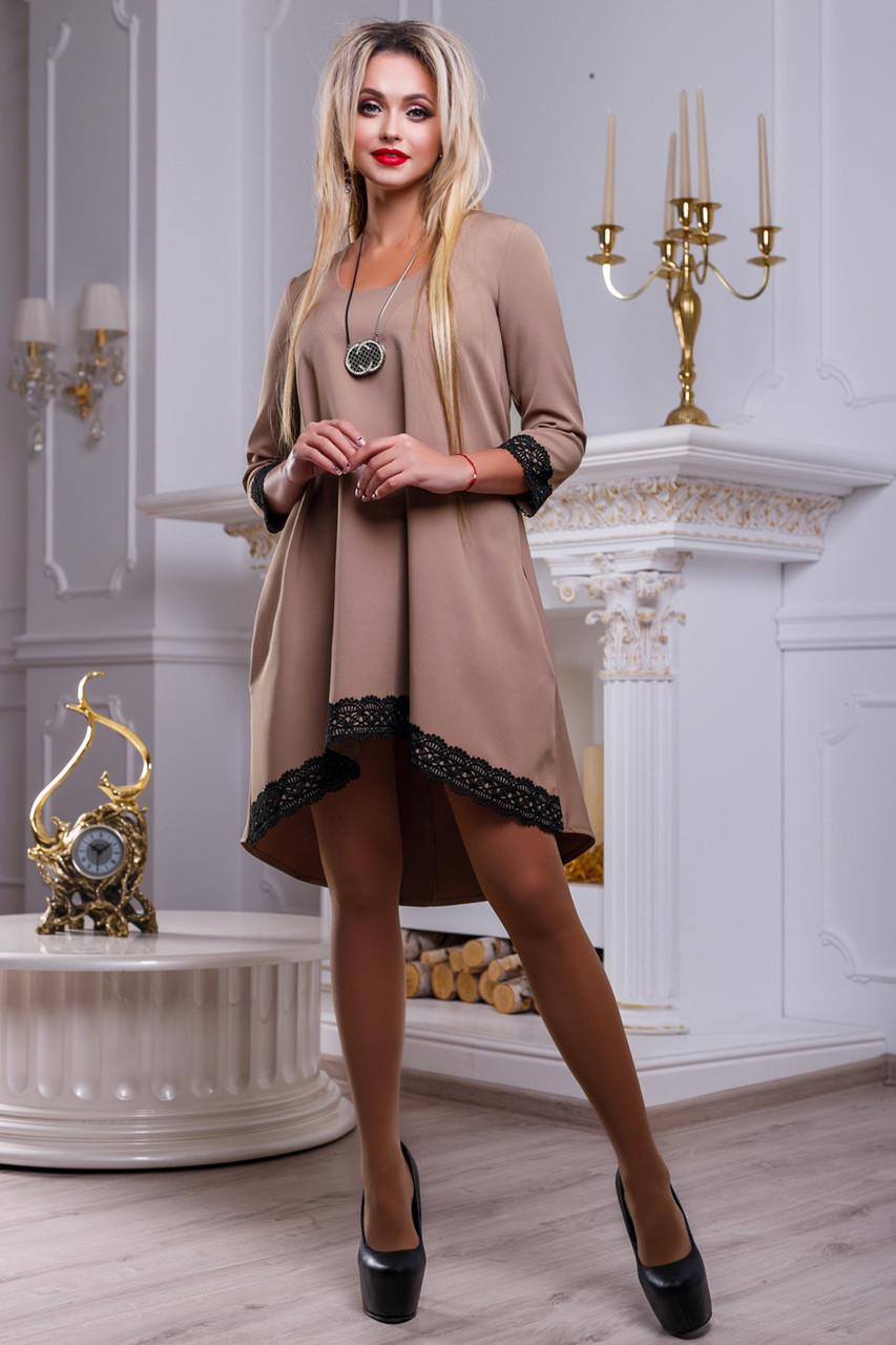 Платье свободного кроя женское с кружевом кофейного цвета