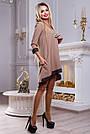 Платье свободного кроя женское с кружевом кофейного цвета, фото 3