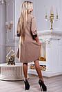 Платье свободного кроя женское с кружевом кофейного цвета, фото 4