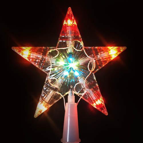 Новогодняя гирлянда звезда с лампочками, 12,5 см