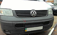 Зимняя накладка Volkswagen T5 2003-2009 (бампер длинная на 3 решетки)(чёрная глянцевая)
