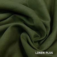 Оливковая льняная ткань 100% лен, цвет 370