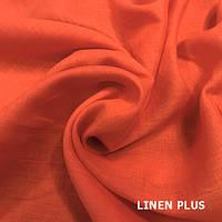 Оранжевая льняная ткань 100% лен, цвет 392