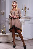 Красивое женское свободное платье из костюмной ткани, кофе, размер 44