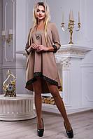 Красивое женское свободное платье из костюмной ткани, кофе, размер 48