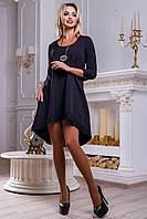 Красивое женское свободное платье из костюмной ткани, чёрное, размер 46