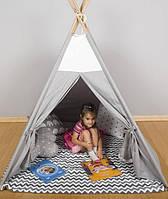 Палатка - Вигвам, детский игровой домик, серая гамма